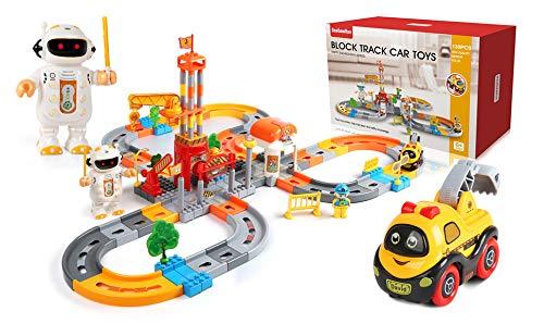 BeebeeRun Rail Train Set, Autorennstrecken, Schienengleisspielzeug, Elektroautospielzeug, 132-teilige Verkehrsgleise für Kinder, Drahtloses interaktives Spielzeug mit Robotern
