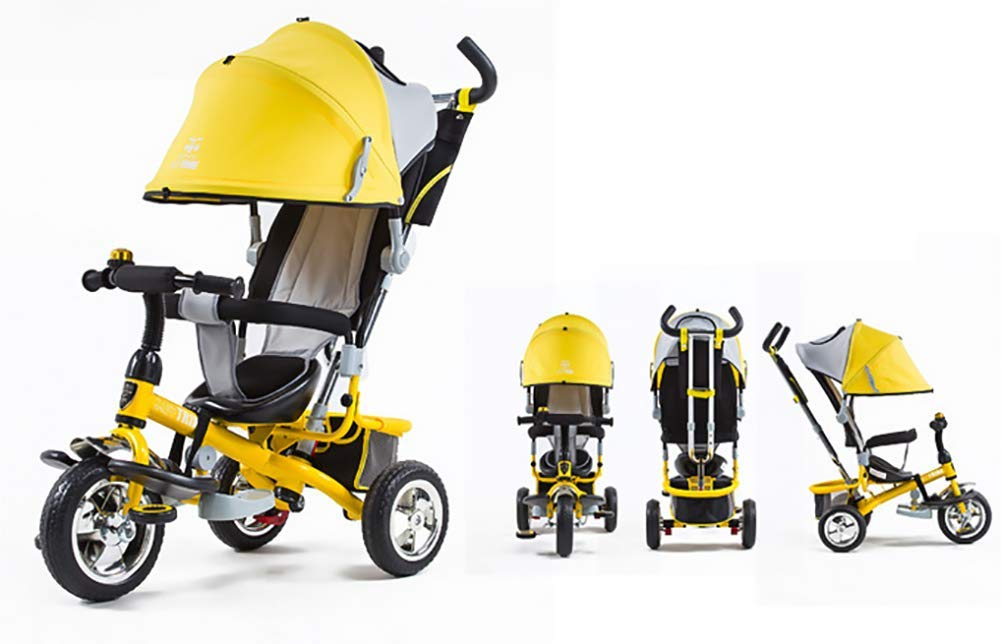 Tricycle Children's Trike with Sun Canopy and Removable Parent Handle Buggy Stroller Fit from 6 Months to 6 Years Boys and Girls Colour Choice,Yellow  4 IN 1 TRIKE: This is a growing with your child innovative kid trike, it follows with your baby's growing up and can be a baby bike, baby walker, or trike with parent pushing rod and canopy. Very Practical: Built with the sturdy aluminum alloy frame in superior strength, Non-slip handle with bell for best touch and added fun in riding, Anti-slip pedals make driving safer, foot brake, stop any time, back storage bin and front basket for storing child's essentials. A variety of safety features such as secure 3-point Y harness, extendable canopy, safety bar and non-slip pedals will all ensure a safe and worry-free ride for you both. 2