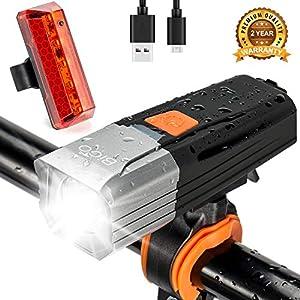 516WsShPq5L. SS300 BIGO Luci Bicicletta LED Ricaricabili USB, Luce Bici Anteriore e Posteriore 2200 mAh Fanale per Bici MTB Luce Bici LED…