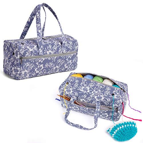 Luxja Aufbewahrungstasche für Wolle, Stricken Tasche für Garn Stränge, Häkelnadeln, Stricknadeln (bis 14 Zoll) und Andere Zubehör, Blumen -