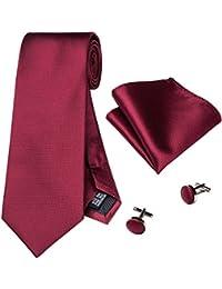 Hi-Tie Set composto da cravatta in seta da uomo, fazzoletto e gemelli