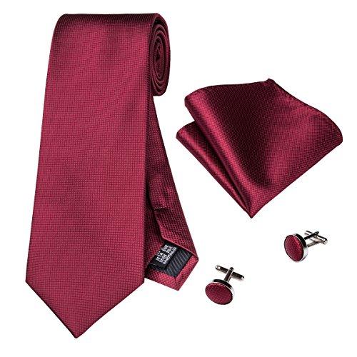 Hi-Tie, Seiden-Krawatte für Herren mit Manschettenknöpfen und Taschentuch Gr. Einheitsgröße, dunkelrot