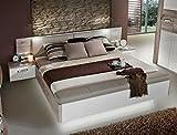 Doppelbett Rubio 1 Sandeiche weiß Hochglanz 180x200 Ehebett mit 2x Nachtkonsole Beleuchtung Schlafzimmer Nachttisch Nako