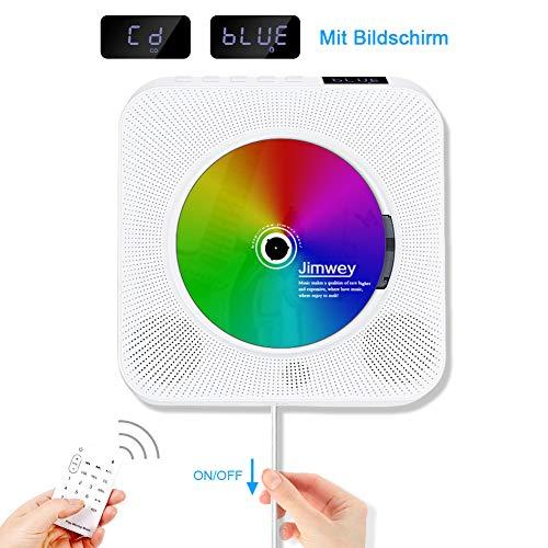 Jimwey CD Player Wandmontierbarer Bluetooth Lautsprecher FM Radio MP3 USB Musikplayer mit Schlaf-Timer LED Display Fernbedienung 3,5mm Kopfhörer Buchse AUX Eingang Ausgang Weiß Weiß