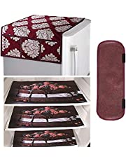 Kuber Industries PVC 3 Pieces Fridge Mats, 1 Piece Handle Cover and 1 Piece Fridge Top Cover (Maroon)-CTKTC14567