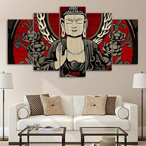 DXZJN 5 Gemälde auf Leinwand Leinwand Wandkunst Leinwand Gemälde Plakat Kunstkostüm Buddha Religion Foto Leinwand Art HD Drucken Zuhause Dekoration Cartoon Kind Büro Wohnzimmer 150X80CM