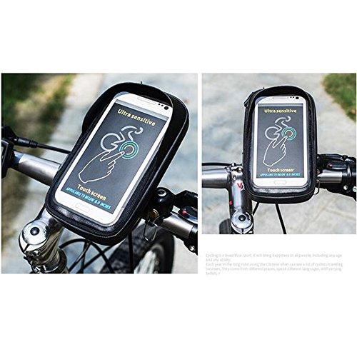 Rad bis tragbar Wasserdicht Fahrrad Lenker Tasche/Geldbeutel, Outdoor Fahrrad Telefon & GPS-Halterung mit 15,2cm Touch- und Kopfhöreranschluss, 360Grad drehbar schwarz