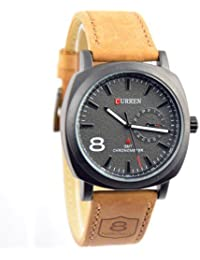 DAIZEL Round Dial Premium Quality Series Analogue Black Dial Brown Leather Strape Fashion Wrist Watch For Men...