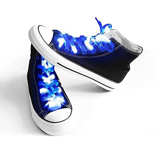 easyDecor (1 par LED Cordones de Nylon Se Enciende 3 Modos Batería Luces Cordones para Fiesta de Navidad Bailando Hip Pop Running Decoraciones (Azul)