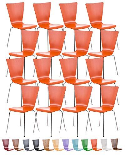 CLP Lot de 16 Chaises Empilables Aaron I Chaises Visiteur en Bois Dossier Siège Ergonomique et Confortable I Hauteur Assise 45 cm I Couleur: Orange