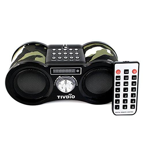 Tivdio Stereo Portatile FM Radio, Porta USB, Scheda Micro SD, Formato MP3 Player(Color Militare)