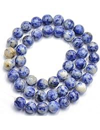 Naturaleza 8mm Mancha Azul Jaspe De Piedras Preciosas Perlas Sueltas Espaciadores 15 \ '\' Redonda