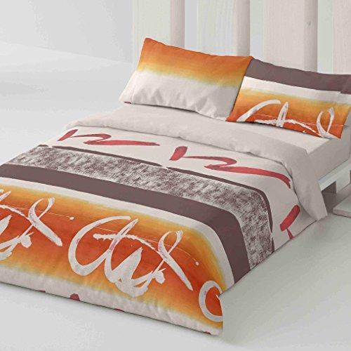 Burrito Blanco Juego de Funda nórdica 347 Diseño de Cenefas para Cama de Matrimonio de 135x190 cm hasta 135x200 cm, Naranja y Marrón
