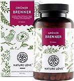 NATURE LOVE Grüner Brenner mit grünem Kaffeeextrakt, Guarana & grünem Tee. 120 Kapseln. Laborgeprüft und ohne Magnesiumstearat. Hochdosiert, vegan & hergestellt in Deutschland