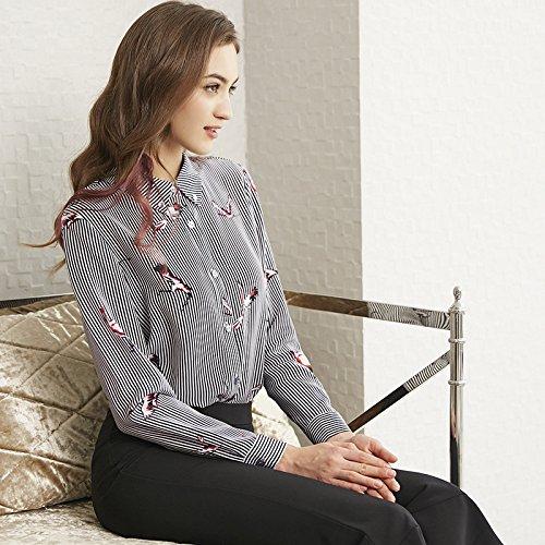 ZHUDJ _Shirt Gestreifte Seide Shirt Polo Weiblichen Temperament Stempel, Gestreifte Drucken, XL -
