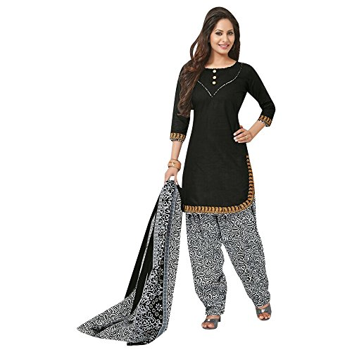 Jevi Prints Black & Grey Unstitched Punjabi Suit Mangalgiri Border