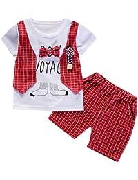 Toamen 2 Pezzi Bambino Ragazzi Abbigliamento Set,Stampa A Quadri Arco da Gentiluomo Maglietta Tops + Pantaloni Corti Outfits Set Bambino Piccolo
