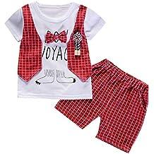 JiaMeng Baby Gentleman Bow Camiseta Tops Pantalones Cortos Pantalones Trajes Conjunto de Ropa Bebé Conjuntos Moda