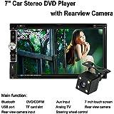 """KKmoon 7"""" HD Reproductor Multimedia DVD CD 2 Din Bluetooth TV Radio Entretenimiento USB/TF FM Aux Entrada con Cámara Visión Trasera Control Volante"""