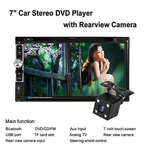 KKmoon 7 Pollici Universale 2 Din HD Bluetooth Auto Stereo DVD CD Lettore USB/TF FM Aux Ingresso TV Radio Intrattenimento Multimedia con HD Telecamera Posteriore
