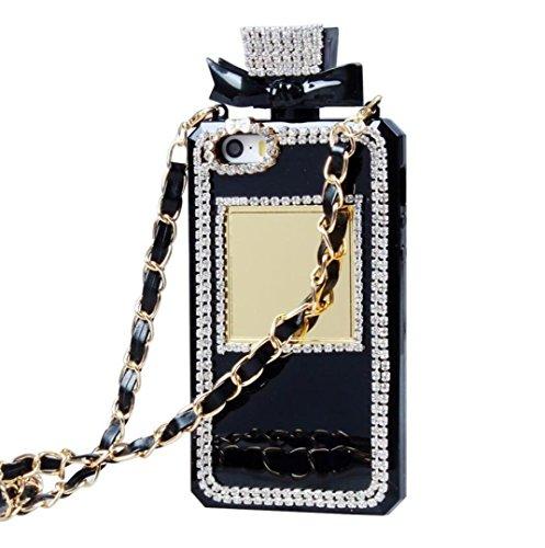 iPhone 6/6S Fall, fusicase Creative Parfüm Flasche Design mit 3D Handmade glänzend Sparkle Diamond Kette Bumper TPU Weiche Handtasche Fall Ausgestattet für iPhone 6/6S 11,9cm, iPhone 5/5s, Schwarz - Iphone Parfüm-flasche 5s Case