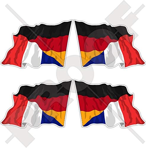 DEUTSCHLAND-FRANKREICH Deutsch-Französisch Wehende Flagge 50mm Auto & Motorrad Aufkleber, x4 Vinyl Stickers (Links - Rechts) -