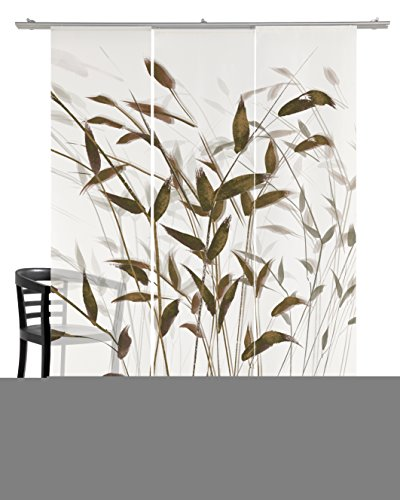 emotiontextiles 10306 Flächenvorhang, Schiebevorhand, Raumteiler 3-er Set Gras 3D, 180 x 260 cm,...