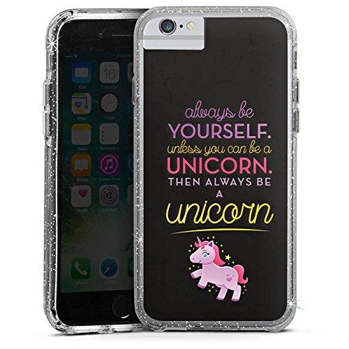 Apple iPhone 6 Bumper Hülle Bumper Case Glitzer Hülle Einhorn Unicorn Lustig Sprüche Bumper Case Glitzer silber