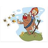 Topposter Poster für Kinderzimmer - Ängstlicher Bär mit Bienen (Poster in Gr. 60x80cm)