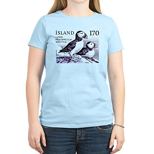 CafePress - 1980 Iceland Atlantic Puffins Postage Stamp T-Shir - Womens Crew Neck Cotton T-Shirt, Comfortable & Soft Classic Tee