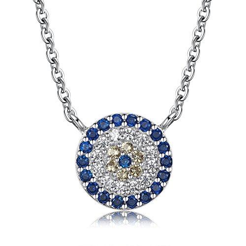 Damen Auge (Kaletine Böser Auge Anhänger Halskette Sterling Silber mit Zirkonia Charme Kabelkette Länge 40cm +5cm Verstell[Rhodium])