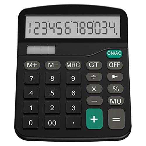 Helect Taschenrechner Standard Tischrechner 12-stelliger Dual-Power (Solar und Batterie)