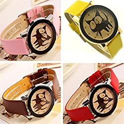 PromiseU Cute Cartoon Cat Synthetic Leather Watches Girls Kids Wristwatch