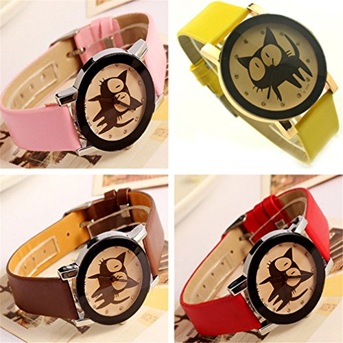 PromiseU-Cute-Cartoon-Cat-Synthetic-Leather-Watches-Girls-Kids-Wristwatch