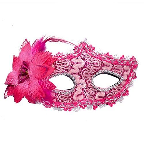 Stil Strass Augenschild Halloween Party Kostüm Maskerade Lilie Blume Prinzessin Maske (Rose rot) (Rose-maskerade-maske)