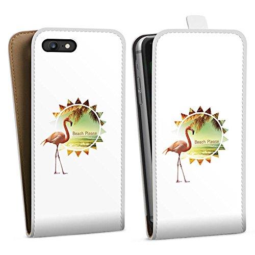 Apple iPhone X Silikon Hülle Case Schutzhülle Flamingo Beach Urlaub Downflip Tasche weiß