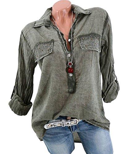 CoCo Fashion Damen Freizeit V-Ausschnitt Manschetten-Ärmel Locker Shirt Bluse Oberteile (Armeegrün, EU S)