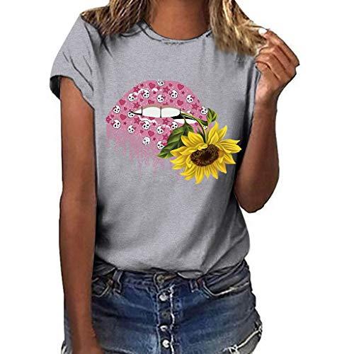 YU'TING Camiseta Mujer Verano Moda Manga Corta Impresión
