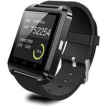 Megadream Bluetooth 4.0Baja Energía Inteligente Reloj resistente al agua reloj de pulsera teléfono con cámara de pantalla táctil y correa de piel sintética banda reloj inteligente para Android Sistema Sync WhatsApp Facebook podómetro y para iPh (funciones parcial), color dorado
