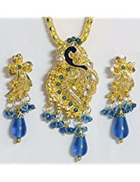 DollsofIndia Gold Plated Pendant With Chain And Earrings - Stone And Metal (FL10-mod) - Golden, Blue
