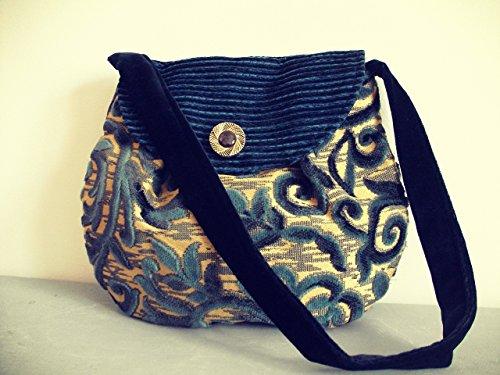 Borsa a spalla in prezioso damasco blu - oro e velluto blu