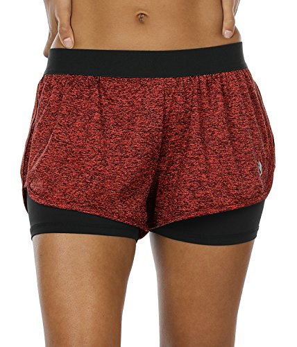 icyzone Damen Sport Shorts Kurze Hosen Sporthose - 2 in 1 Laufshorts Fitness Yoga Hot Pants (Red Bud,M)