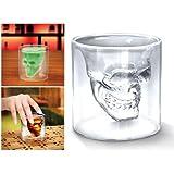 BestMall_FR Co., LTD - Juego de 4 vasos de licor (cristal), diseño de calavera