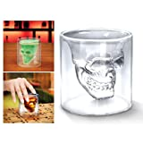 "4x Verre Alcool ""Tete Mort"" Head Shot Skull Crystal Glass Crane Cristal Coupe vodka verrerie"