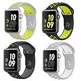Bandes de montre de rechange pour Apple Montre Smart Watch Bracelet Sport bracelet en silicone pour iwatch Lot de 4, Set1, 42mm-S