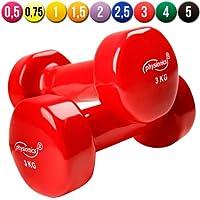 Physionics®  HSTA25-6 - Juego de 2 mancuernas de vinilo - 2 x 3 Kg – Rojo