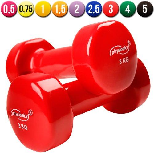 Physionics Manubri palestra fitness sport in vinile da 2x 3 kg