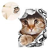 KOBWA 3D Katze/Cat Wand-Aufkleber Wandtattoo Toilette Kühlschrank Aufkleber und Abziehbilder für Wohnzimmer Schlafzimmer- Sticker - Wohndeko