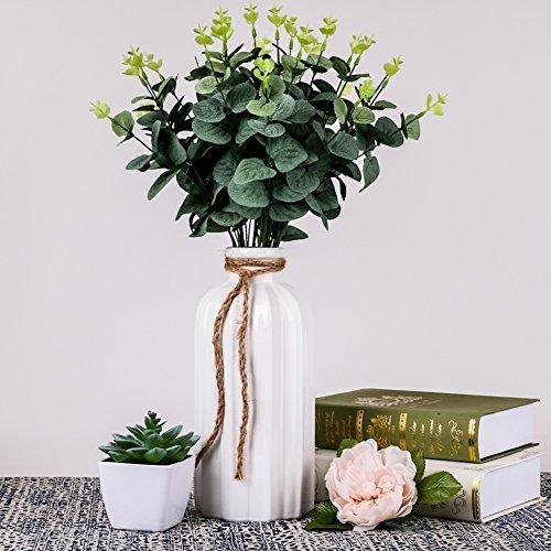 Hannah's Cottage Keramik Blumenvasen, 26,5 cm Weiß Handgefertigte Moderne Dekorative Vase mit Hanfseil für Wohnzimmer, Küche, Tisch, Zuhause, Büro, Hochzeit, Herzstück Oder als Geschenk (Keramik-wohnzimmer Tisch)