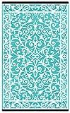 Alfombra de plástico de polipropileno para interior y exterior, color verde, decoración, ligera y reversible, plástico, Blue Turquoise/White, 120 x 180 cm